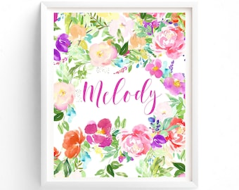 Nursery Art Floral Custom name, Monogram, Nursery Printable, Floral Name Printable,  8 x 10 print art, girls