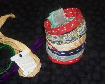 Fabric cuff braclet, fabric textile art braclet, fabric braclet