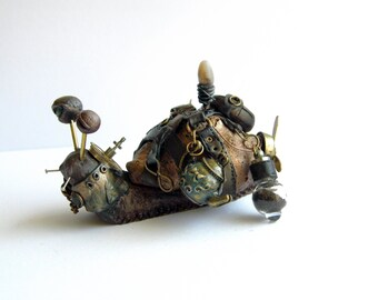 Teapunk Snail from a steampunk wasteland by The Arkana Workshop (Alexandra Howard) DISPLAY ONLY - Post apocalypse styled distopian artwork