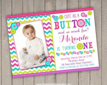 button invitation / cute as a button birthday / cute as a button birthday / cute as a button invitation / cute as button invite /