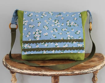 Upcycled Green and Blue Flowered Messenger