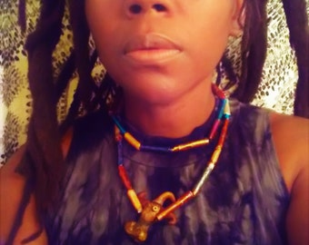 Tribal Earth Goddess Paper  Beaded Necklace