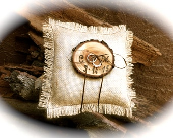 Customized Ring Bearer Pillow Wooden Ring Bearer Country Ring Bearers Rustic Ring Bearer Pillow Wedding Ring Holders Burlap Ring Bearer