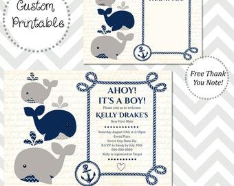 Nautical Whale Baby Shower Invitation DIY Printable