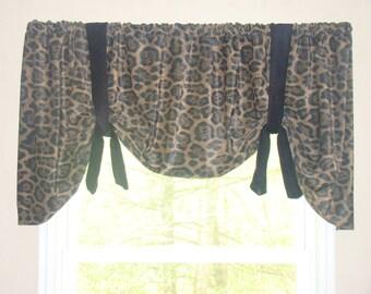 Window Valance, Tie Up Valance, Animal Print, Black and Brown, Leopard Print Valance