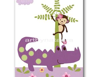 INSTANT Monkey DOWNLOAD Print Baby Nursery Decor Nursery Digital Print Baby Girl Nursery Art Printable Art Digital Download Art 8x10 11X14