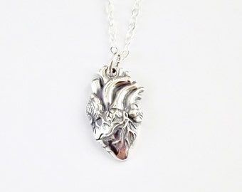 Anatomical Heart Necklace // Sterling Silver Heart //Valentines Day Jewelry