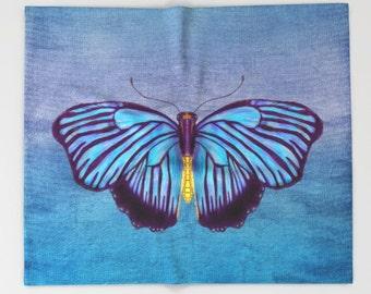 Butterfly Blanket  - Blue butterfly on blueand purple background throw blanket  - blue, purple, beautiful  decor,  cozy gift