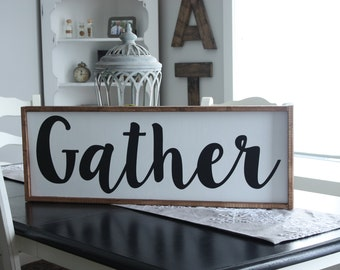 Gather | Dining Room Sign | Wood framed sign | Farmhouse style | Rustic Decor | Wood Sign | Wedding Gift | Wood Wall Hanging |Rustic Sign