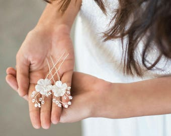 Set of 3 Silver Hair Pins, Silk Flower Bridal Hair Pins, Bridal Hair Pins ,Bridal Floral Hair Pins, Wedding Hair Pins , Flower Hair Pin,