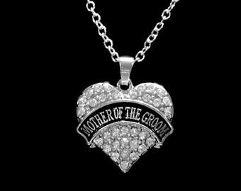 Wedding Gift, Crystal Mother Of The Groom Necklace, Wedding Bridal Party Gift Charm Necklace