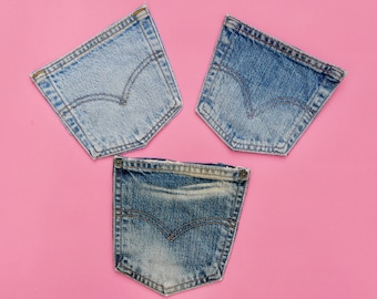 Vintage Denim Pockets - Large Pocket - Denim Fabric