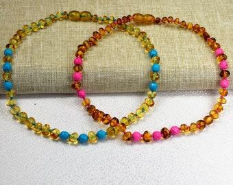 Baby Amber teething necklace / Baltic amber / Amber necklace / 100% Genuine Baltic Amber / Baby amber necklace / amber jewelry / handmade