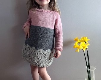 Sweater Dress Pattern, Knit pdf pattern, downloadable dress pattern, diy sweater dress,  2-8 years, instant download, Hipster Sweater Dress