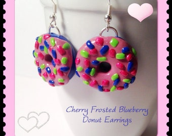Blueberry Donut Earrings, Cherry Frosted Donuts, Jewelry, Polymer Clay, Kawaii Clay Charms, Donut With Sprinkles, Clay Foods, Cute
