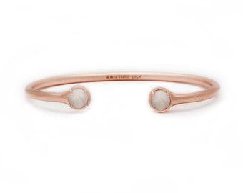 Gemstone Bangle - Rose Gold Bangle - Adjustable / Malleable Bangle Cuff Bracelet - Natural Moonstone Gemstones