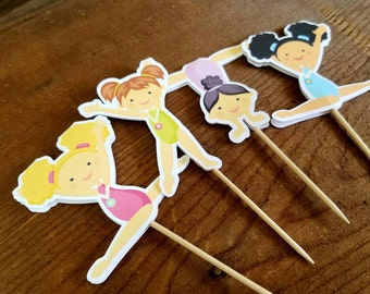 Gymnastics Girls Party - Set of 12 Double Sided Assorted Gymnast Cupcake Toppers by The Birthday House