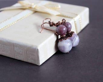 Faceted amethyst earrings Light purple earrings Jade earrings Purple gift idea Amethyst earrings Purple stone jewelry Mother day gift idea