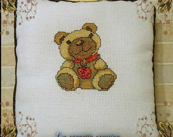 Cross Stitch Embroidered Pillow