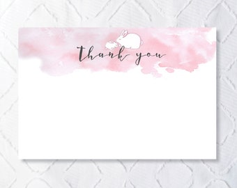 Printable Custom Pink Bunny Thank You Note
