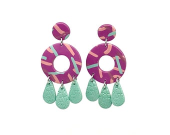 Polymer Clay Earrings - Polymer Clay Jewelry - round - colorful - fun