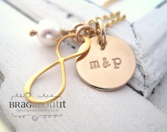 Hand Stamped Personalized Necklace - Infinity Charm - Personalized Couples Necklace - 14K Gold Filled Personalized Jewelry - Us X Infinity