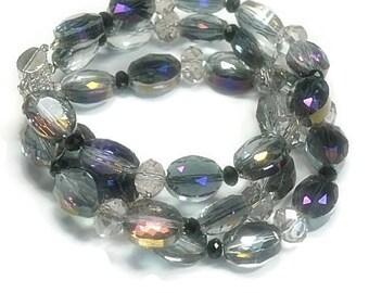 Sale| Glam Crystal Bracelet - Purple Triple Strand Czech Glass Bracelet - Sparkling Bracelet - Handmade - Holiday - Prom - Glitz Jewelry
