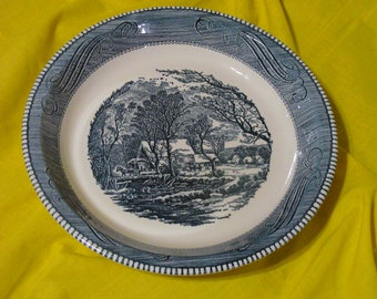 "Blue Royal China, Currier and Ives Old Grist Mill Pie Plate // 10"" Currier and Ives Baking Dish"