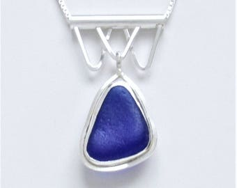 Sea Glass Jewelry - Sterling Cobalt Blue Sea Glass Necklace