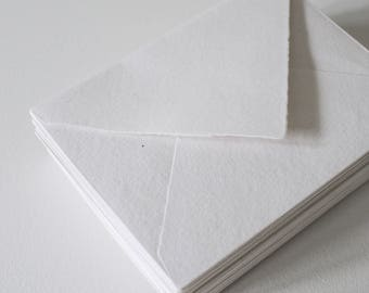 White Deckle Edge Pointy Flaps, Hand made paper Envelopes, fine art paper, 100% cotton rag