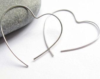 Open Heart Hoop, Simple Silver Earrings,Silver Heart Earrings, Sterling Silver Hoop