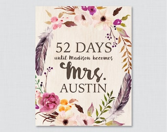 Days Until Mrs Boho Bridal Shower Sign Printable - Bohemian Bridal Shower Days Until Wedding Sign - Flowers and Feathers Bridal 0006