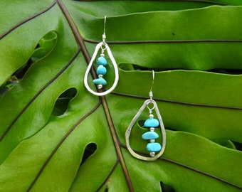 Turquoise & Fine Silver Teardrop Earrings