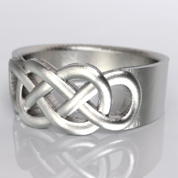 Celtic Wedding Ring With Infinity Knot Design in Sterling Silver, Made in Your Size CR-767