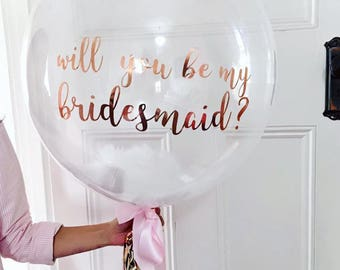 Custom clear confetti Balloon decal 36 inch, bridesmaid balloon, custom balloon, Confetti balloon, vinyl decal, gold decal, wedding balloon,