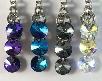 Dangly chainmaille earrings with swarovski crystals - swarovski crystal earrings - sparkly earrings