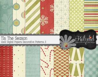 Christmas Digital Paper Tis The Season Digital 12x12 Patterns 3 Holiday Seasonal Papers and Backgrounds for INSTANT DOWNLOAD