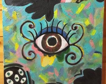 Painting Oil of the rainbow eye