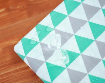 Wide Laminated Cotton Fabric - Triangular Green and Gray - By the Yard 93368