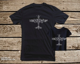 SALE! Father and Son T shirt Set - Classic Fighter Plane Collage of Airplanes, Helicopters and Parts white ink on navy.