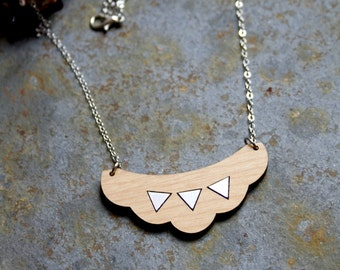 Wooden bib necklace, geometric collar, cloud jewel, triangle silver color, minimal jewelry, modern trendy french style, made in France Paris