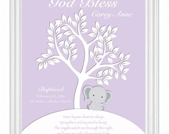 Baptism Gift -Christening Gift - 8x10 Print- Personalized Elephant Nursery Print - Custom Gift for Godchild -Dedication Gift - Other Colors
