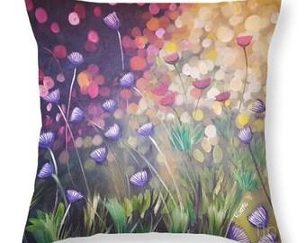 Wild Flowers Throw Pillow,Floral Accent Pillow,Colorful Pillow,Floral Cushion,Art Pillow,Decorative pillow,french cottage decor,flower print