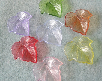 Transparent Lucite Acrylic Leaves You Choose Colors 25mm x 23mm 405