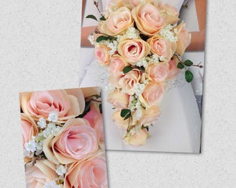 """New Artificial Rose Gold Wedding Teardrop Bouquet, 15"""" in length. Baby's Breath and Blush Pink Rose Bridal Bouquet"""