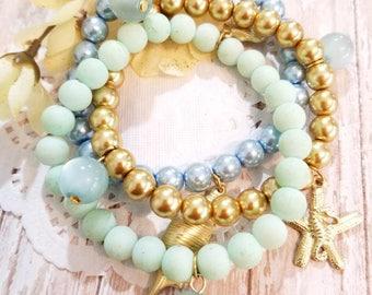 Sea Life Bracelet, Bracelet Set, Beach Jewelry, Starfish Charm Bracelet, Bead Bracelet, Handmade, Beaded Jewelry, Women's Jewelry