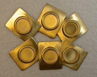 Vintage RECTANGULAR Brass Stampings 8mm Bezel Stone Setting pkg6 m87