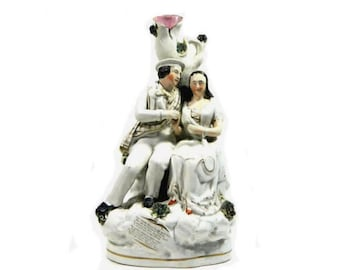 Antique Staffordshire Thomas Parr Figurine Spill Vase Robbie Burns and Highland Mary