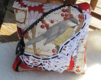 Handmade Pincushion Fabric Collage Large Square Pincushion with Bird and Lace Red and Black Pincushion Handmade Sewing Notions with Bird