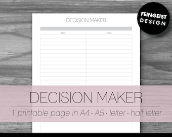 DECISION MAKER. Printable Pages/Planner Inserts. 4 Sizes. Instant Download. Letter - Half Letter - A4 - A5